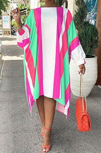 Pink Red Euramerican Women Positioning Strap Printing Long Sleeve Loose Midi Dress AYQ05014-2