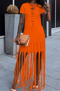 Orange Cotton Blend Eyelet Drawstring Short Sleeve Tassel Solid Colur T Shirt Dress SZS8057-3