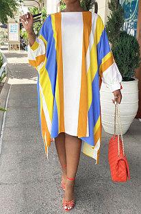 Yellow Euramerican Women Positioning Strap Printing Long Sleeve Loose Midi Dress AYQ05014-1