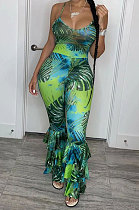 Green Sexy Condole Belt Backless Fashion Printing Bodycon Jumpsuits BYQ1003