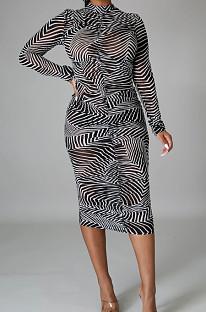 Black Sexy High Elastic Mesh Printing Long Sleeve Round Neck Boycon Dress SMR10236-2