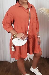 Orange Casual Half Sleeve Lapel Neck Solid Colur Loose Midi Dress ORY5200
