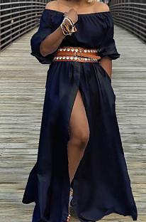 Black Summer A Word Shoulder Half Sleeve Solid Color Slit Long Dress L0268-2