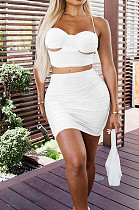 White Sexy Solid Colur Condole Belt Backelss Strapless Hip Mini Skirts Sets DR8102-1
