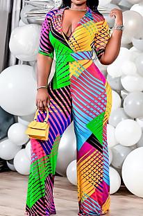 Colorful Printing Cotton Blend Short Sleeve Deep V Collar Wide Leg Jumpsuits PU6092