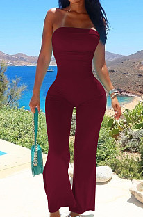 Wine Red Sexy Tight Strapless Collcet Waist Solid Color Wide Leg Jumpsuits LM88813-2