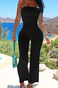 Black Sexy Tight Strapless Collcet Waist Solid Color Wide Leg Jumpsuits LM88813-1