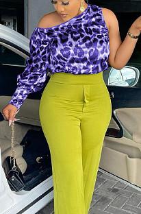 Purple Casual Odlique Shoulder One Sleeve Leopard Print Blouse PU6091-1