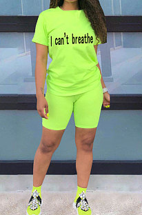 Neon Green Women Pure Color Letters Printing Fashion Short Sleeve Shorts Sets AYQ5136-3