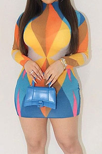 Yellow Fashion Multicolor Long Sleeve Tight Round Neck Mid Waist Mini Dress DLS03274-2