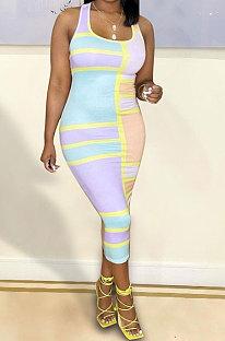 Light Blue Sexy Women Multicolor Spliced Printing Sleeveless Long Dress AYQ06004-1