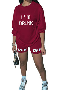 Wine Red Women Long Sleeve Letters Printing Round Neck Casual Shorts Sets AYQ5143-2