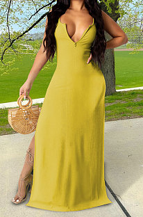 Yellow Euramerican Women Sexy Zipper Low Bosom Lower Hem Split Long Dress AYQ06002-1