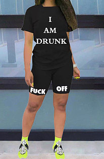 Black Casual Pure Color Letters Short Sleeve Shorts Sets AYQ5146-1