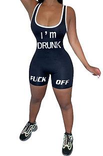 Black Women Sexy Tank Backless Mid Waist Sport Romper Shorts AYQ5145-2