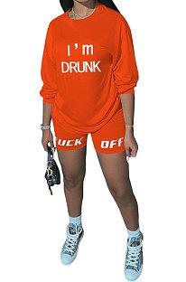 Orange Women Long Sleeve Letters Printing Round Neck Casual Shorts Sets AYQ5143-1