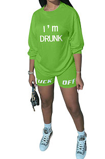 Green Women Long Sleeve Letters Printing Round Neck Casual Shorts Sets AYQ5143-3