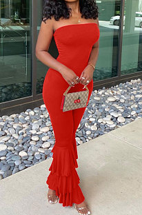Red Women Sexy Strapless Off Shoulder Pure Color Lantern Trousers Bodycon Jumpsuits BYQ1018