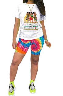 Red Casual Printing Short Sleeve Shorts Sets AYQ5139-2