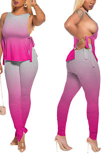 Pink Women Casual Sleeveless Tied Gradual Change Pants Sets AYQ8003-1