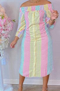 Pink Yellow Euramerican Women Sexy Fashion A Word Shoulder Irregular Multicolor Long Sleeve Midi DressK2151-1