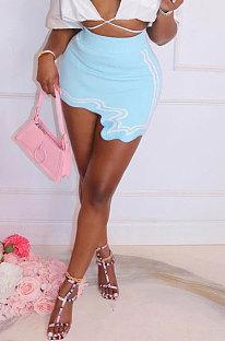 Blue Club Suit Sexy Ribber Printing Irregular Skirts GL6398-1