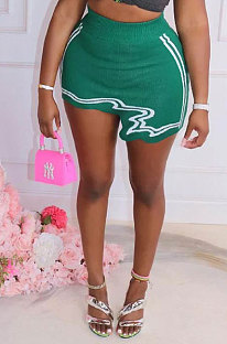 Green Club Suit Sexy Ribber Printing Irregular Skirts GL6398-4