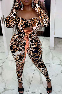 Leopard Drawsting Foldding A Word Shoulder Hollow Out Long Sleeve Bodycon Jumpsuits JZH8076