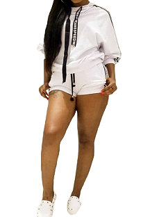 White Euramerican Women Fashion Sexy Solid Color Ribbon Long Sleeve Hoodie Shorts Sets T3382