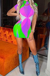Light Green Printing Fashion Short Sleeve Multicolor Spliced Mini Dress AYL88802-3
