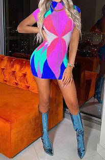 Violet Printing Fashion Short Sleeve Multicolor Spliced Mini Dress AYL88802-2