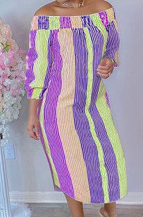 Purple Euramerican Women Sexy Fashion A Word Shoulder Irregular Multicolor Long Sleeve Midi Dress K2151-2