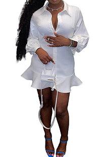 White Women Button Sexy Solid Color Long Sleeve Flounce T Shirt/Shirt Dress JZH8077