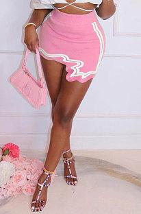 Pink Club Suit Sexy Ribber Printing Irregular Skirts GL6398-3