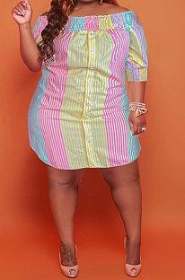 Pink Yellow Sexy Fashion Short Sleeve A Word Shoulder Irregular Multicolor Plus Mini Dress K2149-4