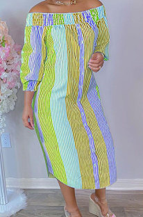 Orange Euramerican Women Sexy Fashion A Word Shoulder Irregular Multicolor Long Sleeve Midi Dress K2151-3