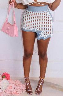 Blue Plaid Club Suit Sexy Ribber Printing Irregular Skirts GL6398-8