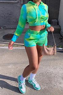 Green Casual Sport Long Sleeve Zipper Hoodie Drawsting Coat Pocket Shorts Sets JZH8073