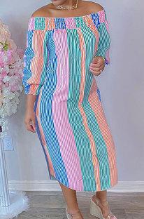 Pink Green Euramerican Women Sexy Fashion A Word Shoulder Irregular Multicolor Long Sleeve Midi Dress K2151-4