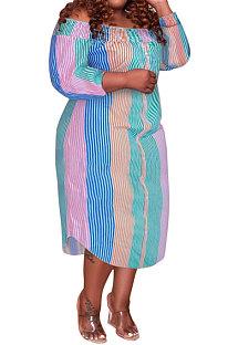 Pink Green Euramerican Sexy Fashion A Word Shoulder Multicolor Long Sleeve Plus Midi Dress K2156-1