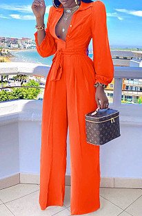 Orange Fashion Long Sleeve Lapel Collar Solid Color With Waistband Wide Leg Jumpsuits OMY80035-3