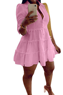 Pink Casual Solid Color Long Sleeve Lapel Neck Single-Breasted Shirt Dress OMY0022-3
