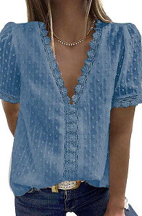 Dark Blue Chiffon Pure Color Jacpuard Short Sleeve V Neck Loose Fashion Blouse MDO9986-3