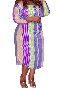 Purple Euramerican Sexy Fashion A Word Shoulder Multicolor Long Sleeve Plus Midi Dress K2156-2