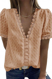 Apricot Chiffon Pure Color Jacpuard Short Sleeve V Neck Loose Fashion Blouse MDO9986-6