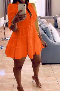 Orange Casual Solid Color Long Sleeve Lapel Neck Single-Breasted Shirt Dress OMY0022-5