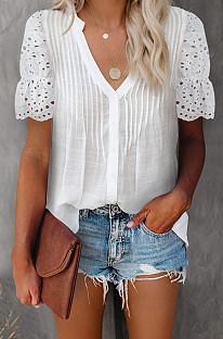 White Summer Lace Short Sleeve V Collar Ruffle Loose Single-Breasted Shirts MDO202108-1