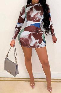 Brown Women Sexy Club Dress Printing Long Sleeve SlimFitting Mini Dress SH7276