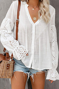White Summer Chiffon Horn Sleeve V Collar Single-Breasted Loose Solid Colur Shirts MDO001-1