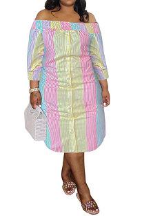 Pink Yellow Euramerican Sexy Fashion A Word Shoulder Multicolor Long Sleeve Plus Midi Dress K2156-4